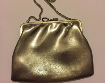 Vintage Gold Evening Purse, Chain Strap Handle, 1950s Handbag, Prom Bag