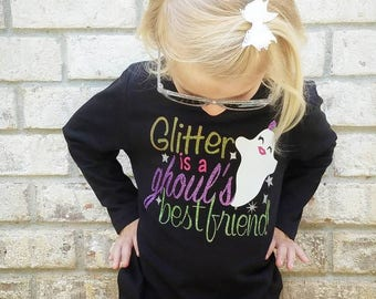 Girl Ghost Shirt - Girl Halloween Outfit - Girl Ghost -  Girl Halloween - Halloween Shirt - Glitter Halloween - Unique Halloween