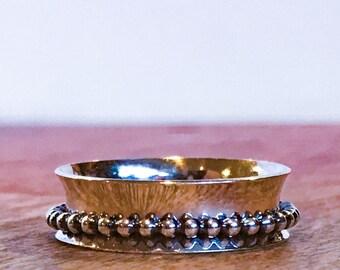 Silver Meditation Ring ~ Silver Spinner Ring ~ Silver Fidget Ring with Silver Dot Spinner - Dot Dot Dot
