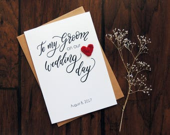 To my Groom on our wedding day card, personalized groom card with crochet heart, card from bride