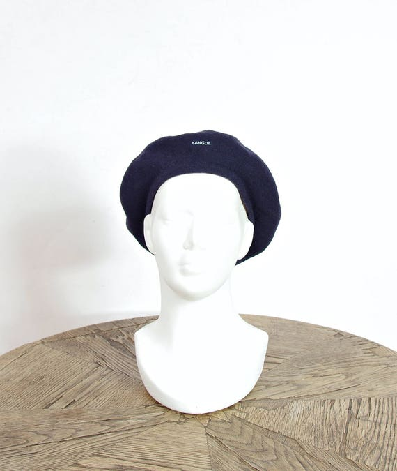 80s Kangol french style navy blue wool beret