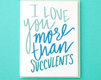 Succulent Card. Wedding Anniversary. Funny Anniversary Card. Love Card. Boyfriend Card. Friend Card For Her. Wedding Card for Fiancé