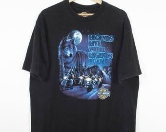1991 HARLEY DAVIDSON shirt - vintage - single stitch - legends live where legends roam - biker - wolf - whites lebenon - eagle logo