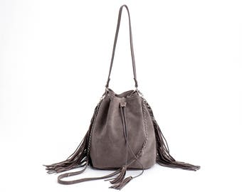 Suede Leather Bucket bag, Drawstring bag, Leather fringe bag, Gray Sac bag, Leather Shoulder bag, Handmade bag, Bucket bag, Sale!