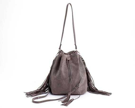 Suede Leather Bucket bag Drawstring bag Leather fringe bag
