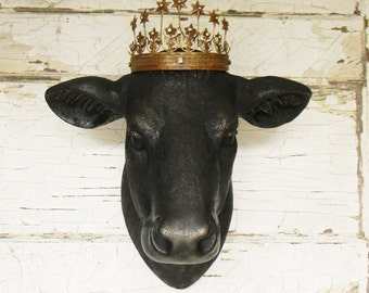 Faux Cow Head, Faux Taxidermy ,Faux Taxidermy Cow Head, Farmhouse Decor,Cow head Wall Art,Cow Head Wall Decor, French Country Decor