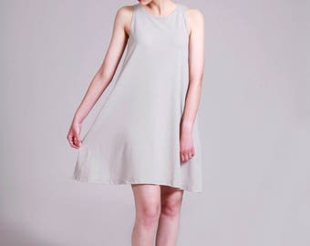 Sleeveless Gray Dress, Short Summer Dress, Loose Fit,  Tank Dress, Short Dress Summer, Casual