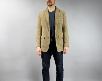 Vintage Mens Corduroy Beige Jacket, Workout Velvet Coat, Preppy Boyfriend Blazer, Mens Brown Lightware Formal Jacket Hipster Wear Size Large