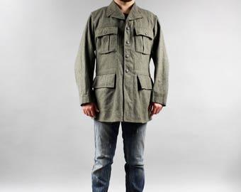 80's Plus size Authentic Military Style Extra Large Vintage Genuine Army Green Khaki Blazer Warm Wool Men's Jacket Size XL