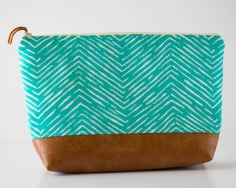 Large Makeup Bag, Wet Bag, Diaper Clutch, Tolietry Bag, Large Zipper Pouch, Blue Herringbone Fabric