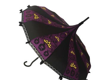 Apple Queen Fairy Tale Themed Umbrella / Parasol Purple & Black w/ lace and bows
