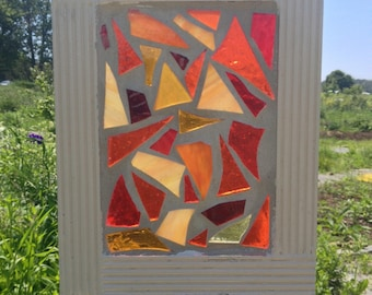 Orange Stained Glass Suncatcher Stained Glass Mosaic Orange - Abstract Orange  mosaic  window hanging home decor
