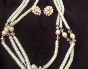 Vintage made in Japan 3 Strand Beaded Necklace and clip on earrings.