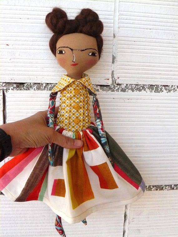 Frida Kahlo rag doll. 13 inches. Frida nº 17 2017 series. Mohair hair