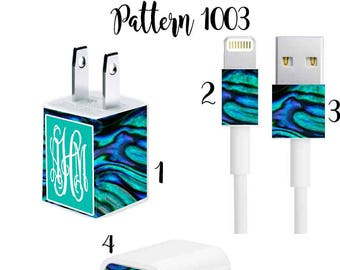 Iphone Charger Wrap, Monogram Iphone charger decal in Pattern 1029