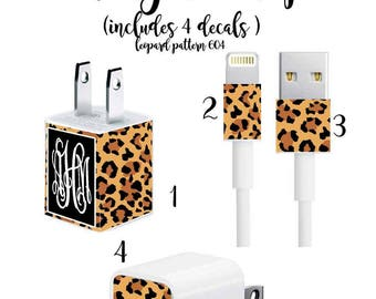 Iphone Charger Wrap, Monogram Iphone charger decal in Leopard Pattern 604
