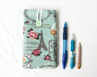 Iphone 8 plus case, fabric phone case, IPhone 7 plus cover, padded IPhone sleeve, IPhone 6 plus sleeve, Christmas gift, handmade in the UK