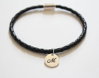 Leather Bracelet with Sterling Silver Cursive M Letter Charm, Bracelet with Silver Letter M Pendant, Initial M Charm Bracelet, M Bracelet