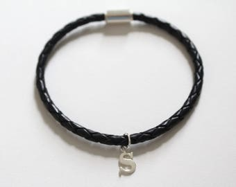 Leather Bracelet with Sterling Silver Typewriter S Letter Charm, Bracelet with Silver Letter S Pendant, Initial S Charm Bracelet, S Bracelet