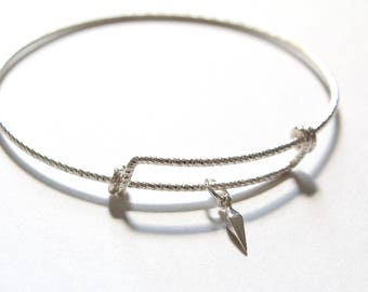 Leather Bracelet with Sterling Silver Spike Dangle Charm, Spike Dangle Bracelet, Geometric Charm Bracelet, Geometric Bracelet, Spike Dangle