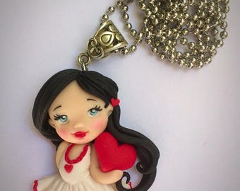 Necklace polymer clay handmade baby doll with heart
