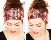 Fall Turban Autumn Watercolor Splashes Headband Workout Headband Yoga Headband Red Headband Head wrap Turban Women accessories Gift for Her