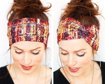 Fall Turban Autumn Watercolor Splashes Headband Workout Headband Yoga Headband Red Headband Head wrap Turban Women accessories Gift for Her