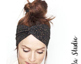Black Turban Headband with Copper Dust Print Women Turban Headband Black Headwrap Black Headband Twist Headband Women Black Turban Headband