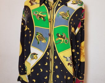 FREE  SHIPPING  Vintage Versace Style Silk Blouse