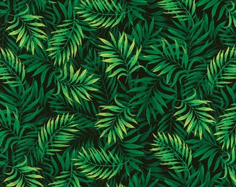 Fabric, Palm Fronds, Island Breeze, Chong a Hwang, Green and Black, Tropical Leaves, Timeless Treasures, By The Yard