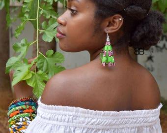 African Fabric Tassel Earrings, Textile Earrings, African Earrings, Dangle Earrings, Boucles d'oreilles en Wax