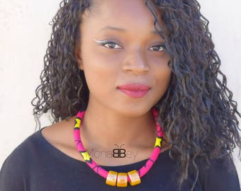 Pink African fabric necklace, ankara necklace, african statement necklace, collana africana, afro jewellery, ankara jewellery for women
