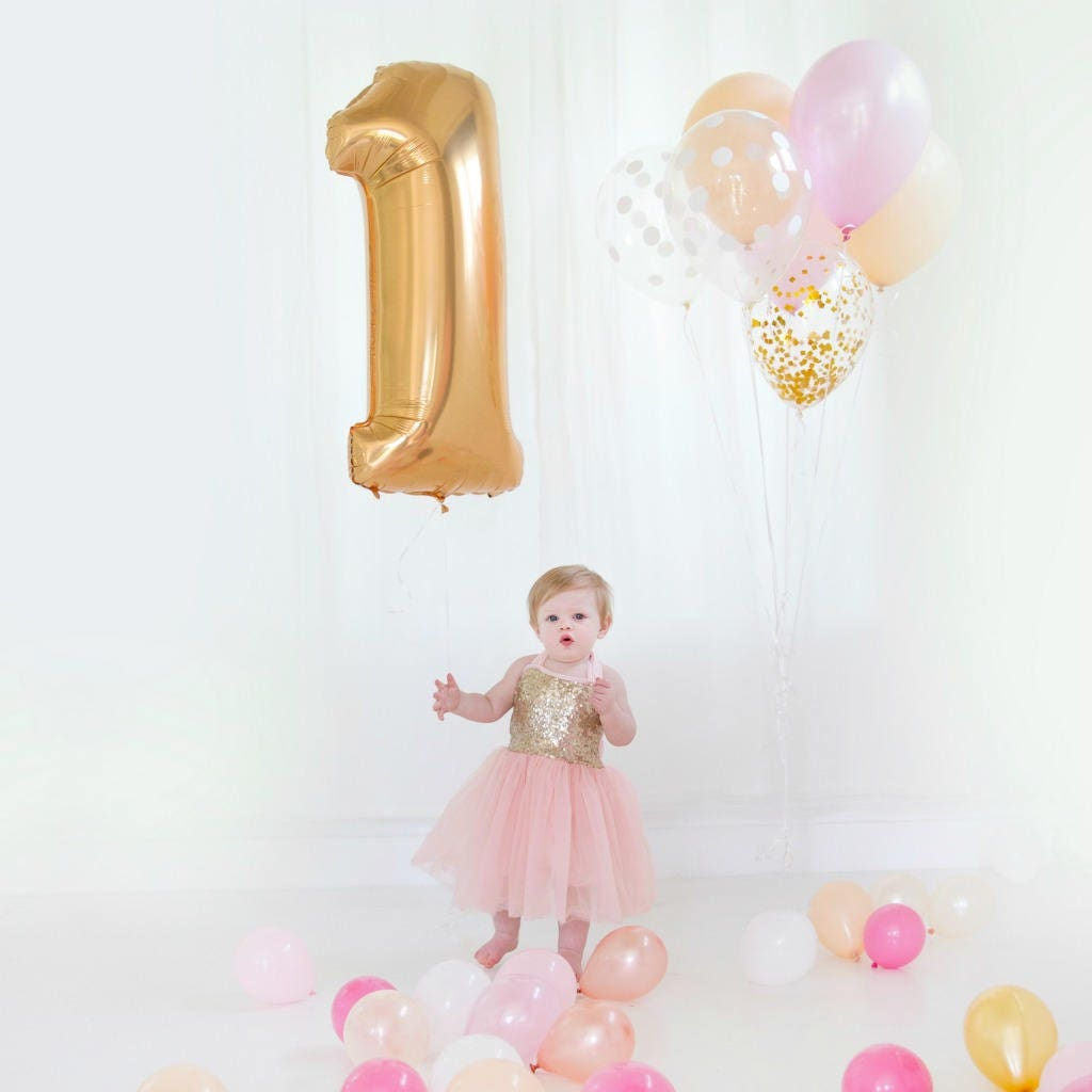 Gold Foil 1 Balloon For First Birthday Party, Smash Cake