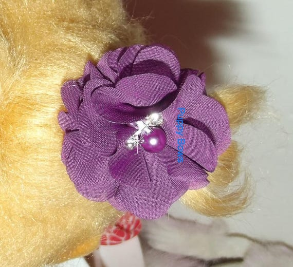 Puppy Dog Bows ~ Chiffon  10 color choices  flowers boy or girl pet hair bow barrettes or bands  (fb11)