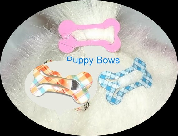 Puppy Bows ~NEW LOWER PRICE! Barrette snap clip dog bone shape bow Maltese ~Usa seller