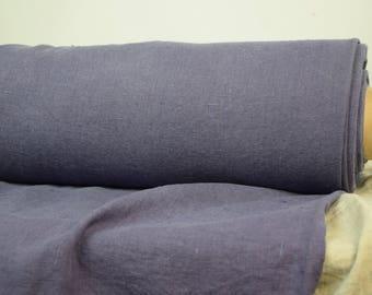 Pure 100% linen fabric 290gsm. Aubergine (grayish-purple eggplant). Heavy, thick, stone washed, dense, rustic, homespun, burlap.