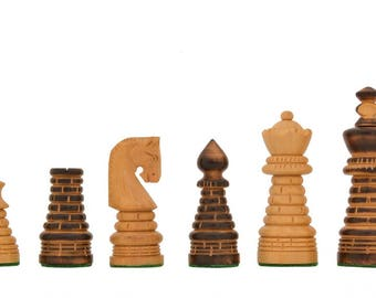 New Design Chess Set Burnt Wood  Handcarved Knight 32 Pieces. SKU: M0017
