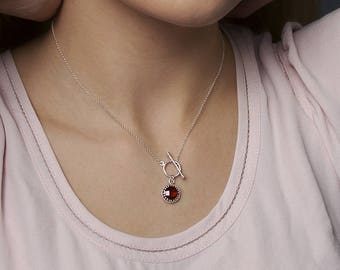 Sterling Silver Necklace with Gemstone Red Cubic Zirconia