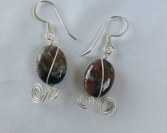 Jasper and Sterling Silver Wire Wrapped Earrings