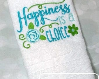 Happiness is a choice Saying embroidery design - saying embroidery design - flower embroidery design - summer embroidery design - spring