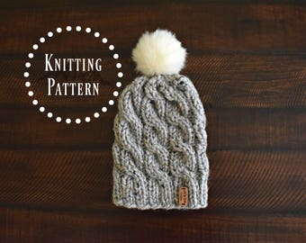 PATTERN // Adult Cable Knit Hat Pattern // Cable Hat // Infant, Baby, Toddler, Child, & Adult Sizes // The ARYA