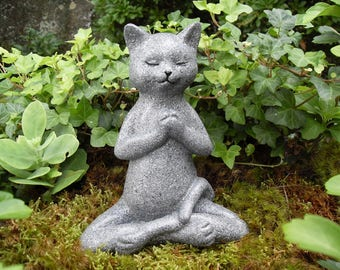 Buddha Cat Statue,Meditating Cat,Praying Cat Memorial, Zen Cat Statue,Yoga Cat Statue,Buddha Statue,Zen Statue,Concrete Cat, A&C