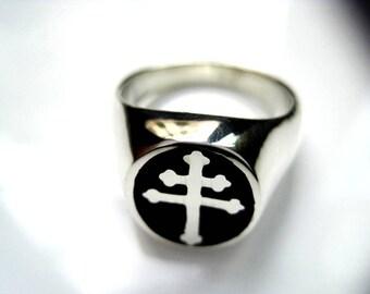 Ring silver cross   lorraine