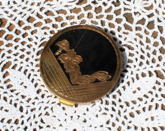 Vintage! Rex Fifth Avenue. Gold/black/floral/mirror/powder/compact. Beautiful compact!