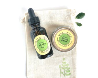 Organic Beard Kit Gift for Him | Father's Day Gifts under 20 | Beard Grooming Kit | Beard Care Set | Vegan Beard Oil + Beard Balm