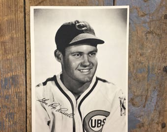 Vintage Glen Rip Russell Photography Print 1950s Chicago Cubs Baseball Print Rip Russell Chicago Cubs Vintage Baseball Printed Signed