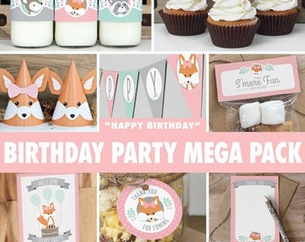 SALE Girl Woodland Birthday Party Mega Pack // INSTANT DOWNLOAD // Mint & Pink Birthday Decorations // Deer Fox Raccoon // Printable Bp02