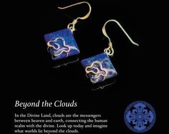 Lapis Cloud Earrings, Chinese Cloud Earrings in Gold Filled