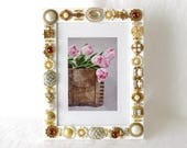 picture frame white, photo frame, button art, mixed media, jeweled picture frame, gold jewelry, handcrafted, wedding gift, anniversary gift