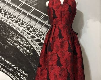 Couture Red Silk Brocade Day Dress